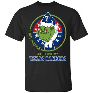 Grinch I Hate People But I Love My Texas Rangers T-Shirt For Fans MN08-Bounce Tee