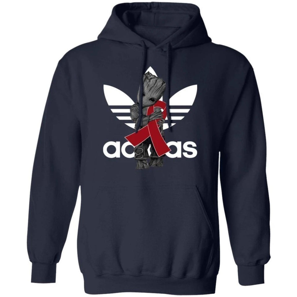 Groot Hugging Burgundy Ribbon Multiple Myeloma Awareness Hoodie HA09-Bounce Tee