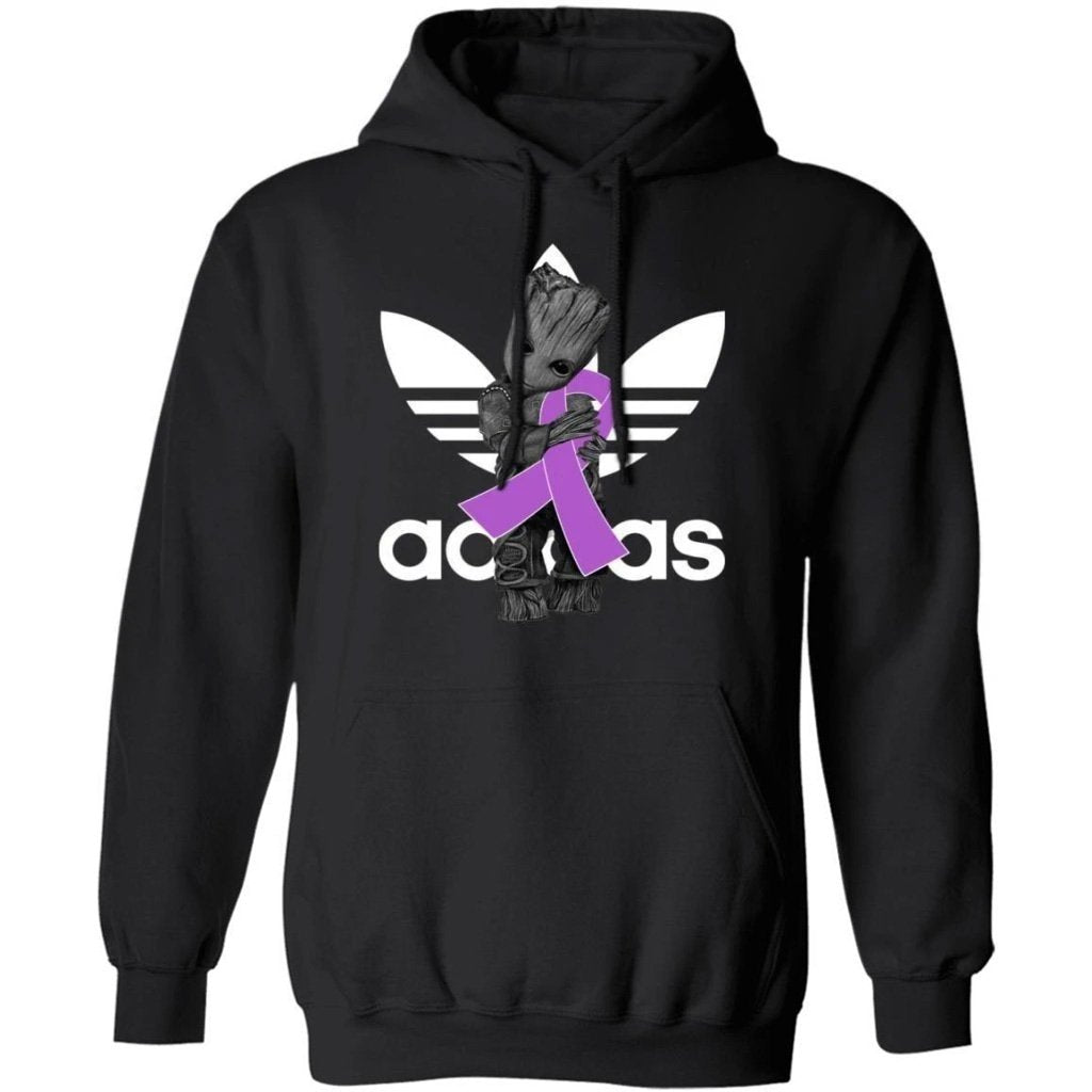Groot Hugging Light Purple Ribbon Testicular Cancer Awareness Hoodie For Cancer Warrior HA09-Bounce Tee