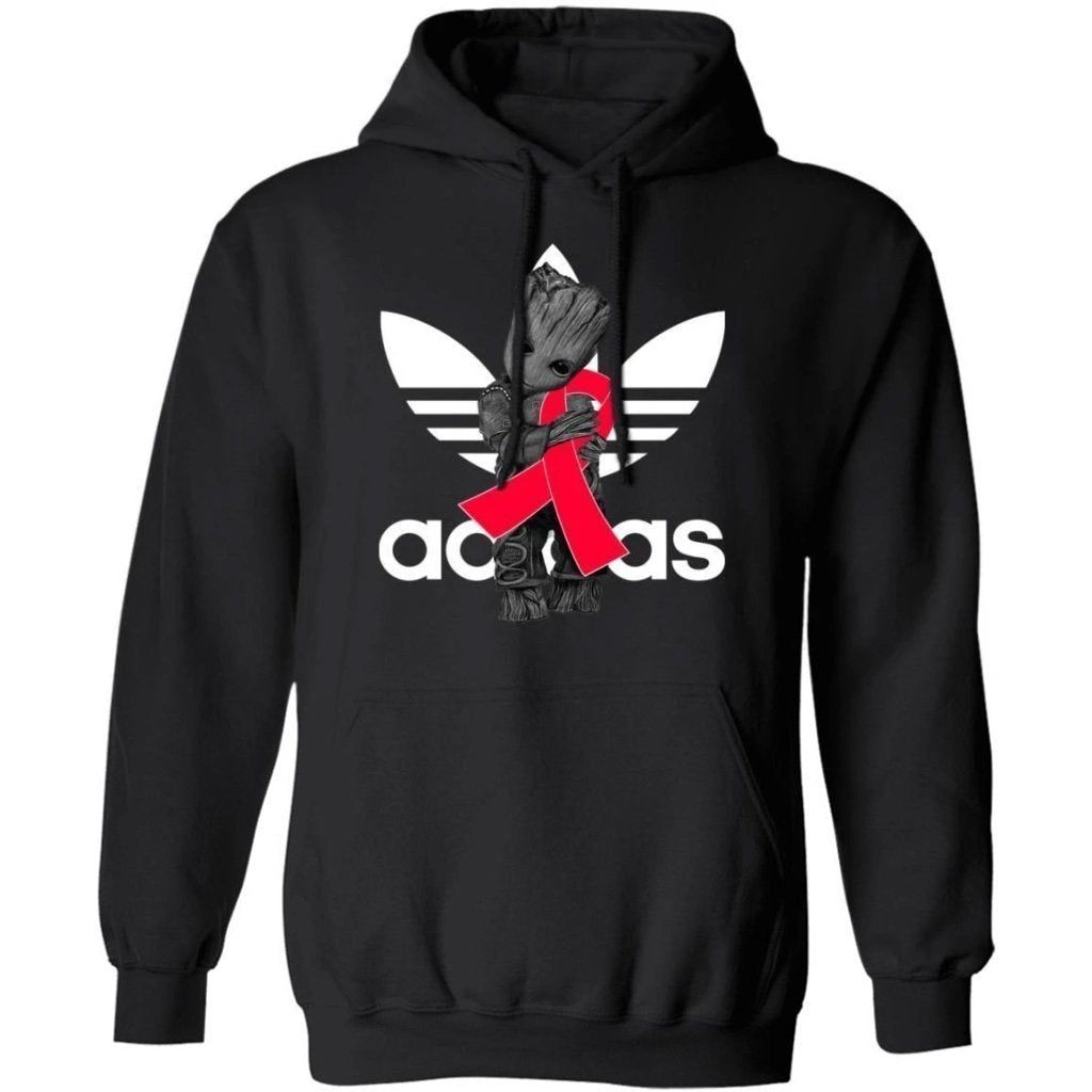 Groot Hugging Red Ribbon Blood Cancer Awareness Hoodie For Cancer Warrior HA09-Bounce Tee