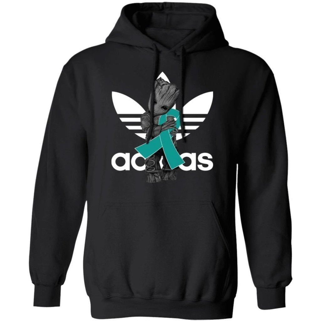 Groot Hugging Teal Ribbon Ovarian Cancer Awareness Hoodie For Cancer Warrior HA09-Bounce Tee