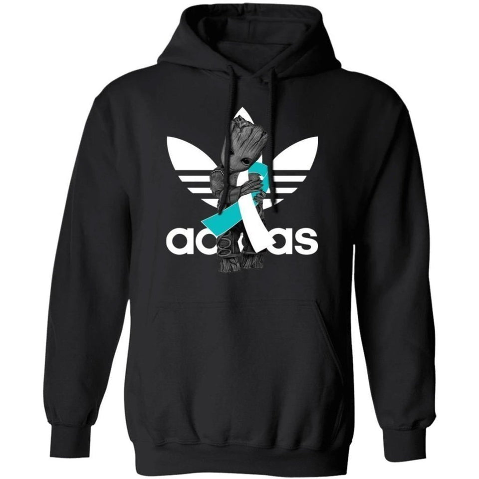 Groot Hugging White Teal Ribbon Cervical Cancer Awareness Hoodie For Cancer Warrior HA09-Bounce Tee