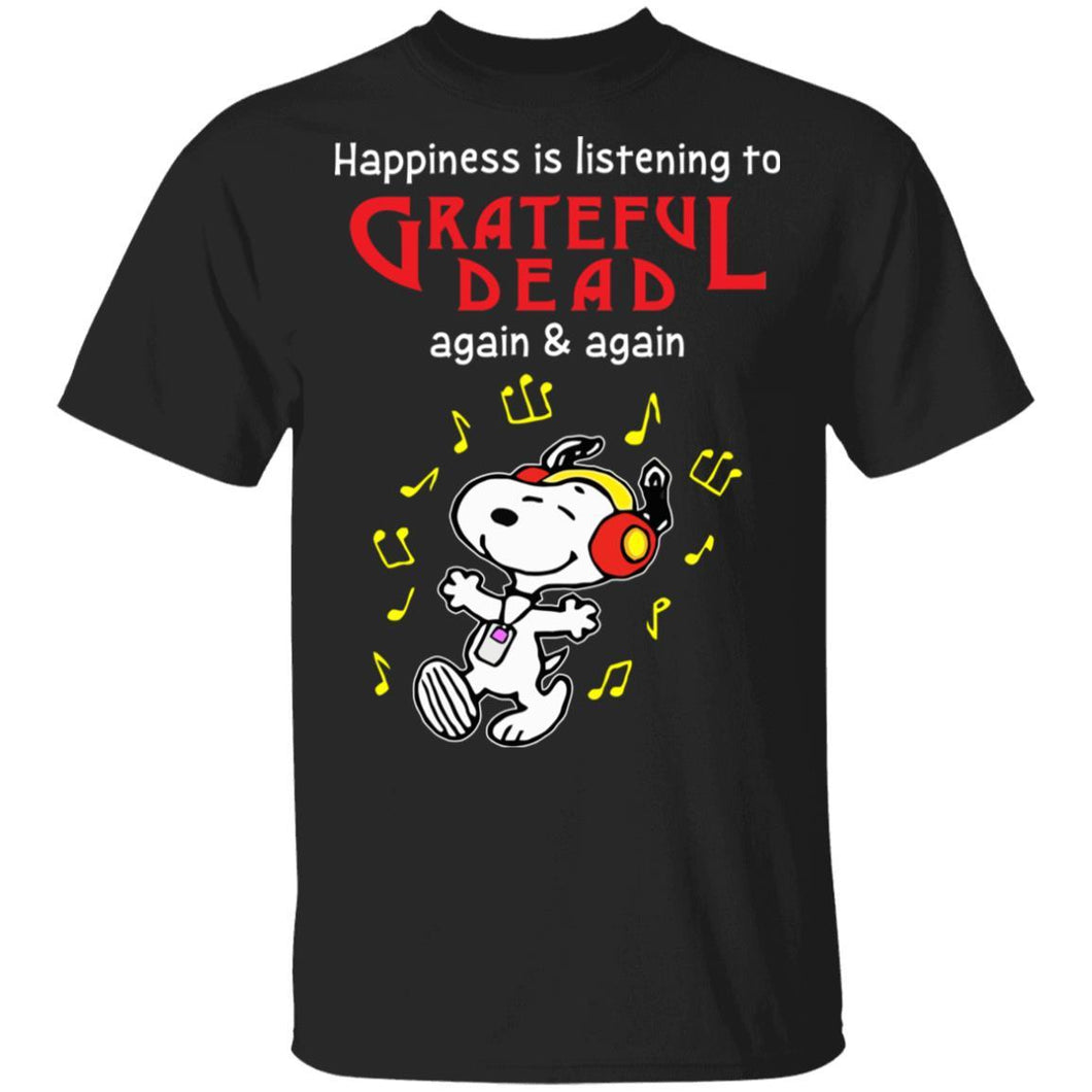 Happiness Is Listening To Grateful Dead T-shirt Snoopy Rock Tee HA03-Bounce Tee