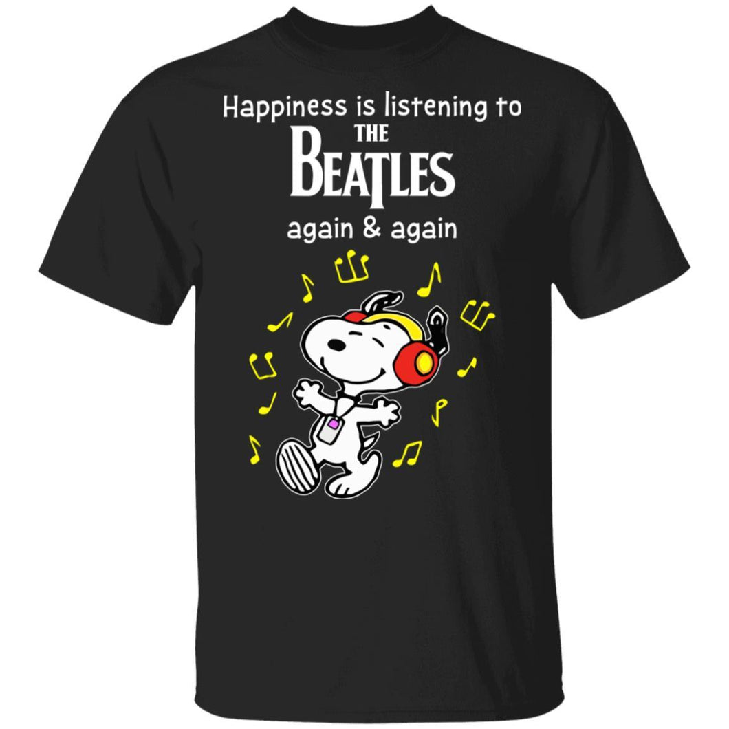 Happiness Is Listening To The Beatles T-shirt Snoopy Rock Tee HA03-Bounce Tee