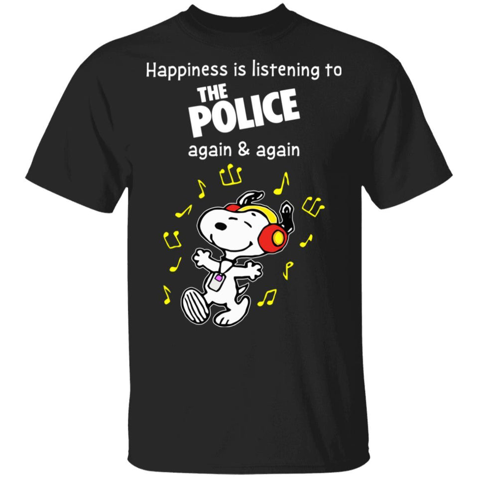 Happiness Is Listening To The Police T-shirt Snoopy Rock Tee HA03-Bounce Tee