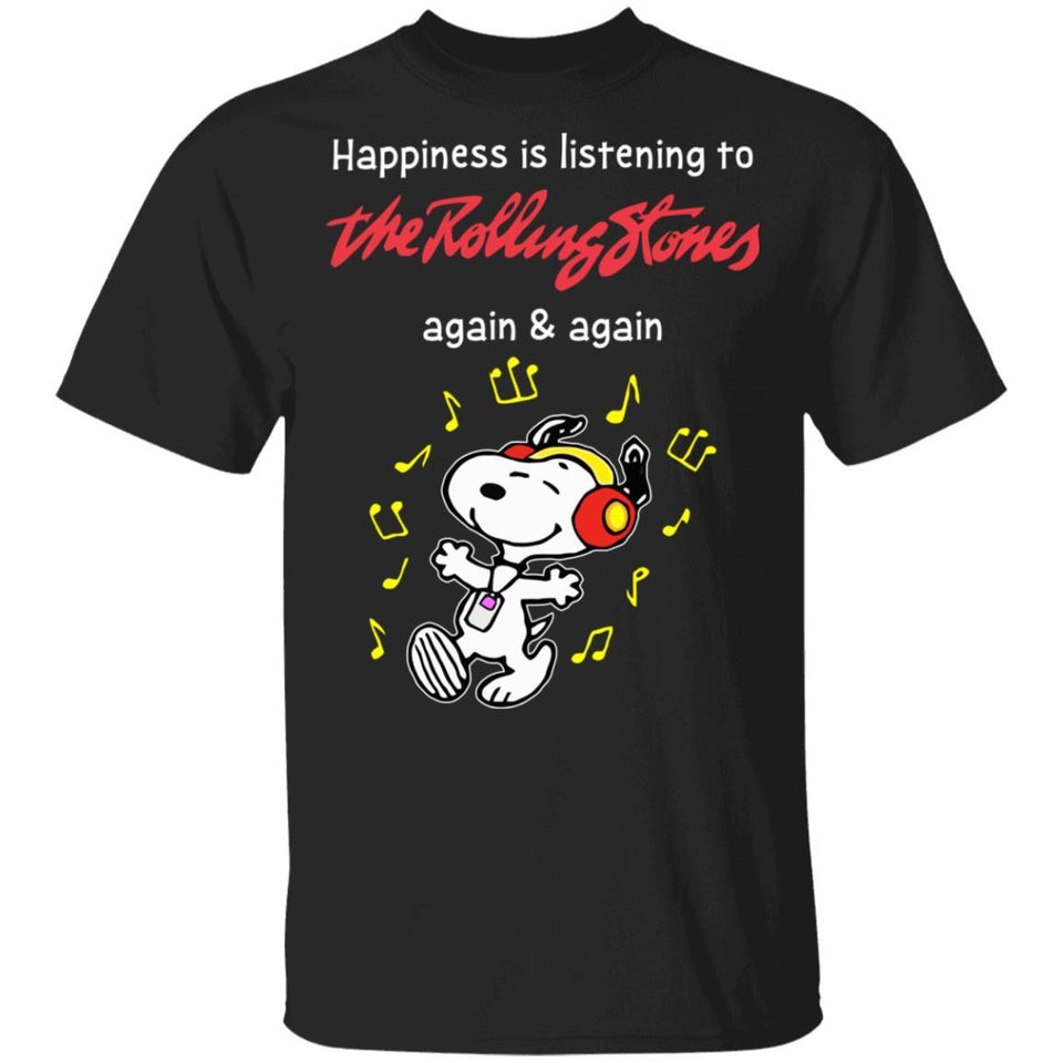 Happiness Is Listening To The Rolling Stones T-shirt Snoopy Rock Tee HA03-Bounce Tee