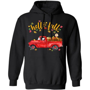 Hello Fall Snoopy Driving Red Truck Hoodie For Autumn Season VA09-Bounce Tee