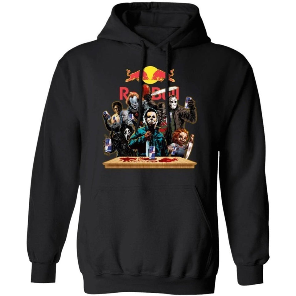 Horror Characters Drink Red Bull Hoodie Funny Halloween Gift TT09-Bounce Tee