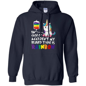 In Case Of Accident My Blood Type Is Rainbow Unicorn Hoodie Funny Gift HA08-Bounce Tee