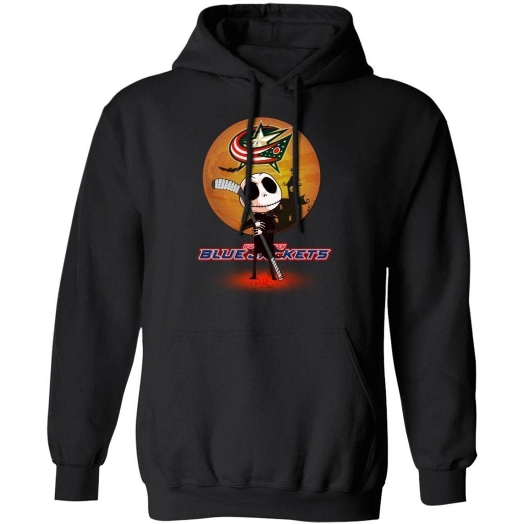 Jack Skellington Holding Hockey Stick Columbus Blue Jackets Hoodie For Fans HA09-Bounce Tee