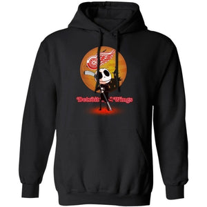 Jack Skellington Holding Hockey Stick Detroit Red Wings Hoodie For Fans HA09-Bounce Tee
