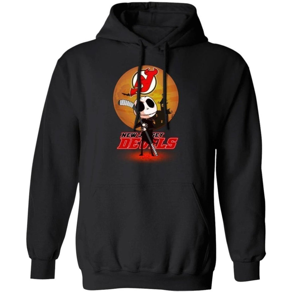 Jack Skellington Holding Hockey Stick New Jersey Devils Hoodie For Fans HA09-Bounce Tee