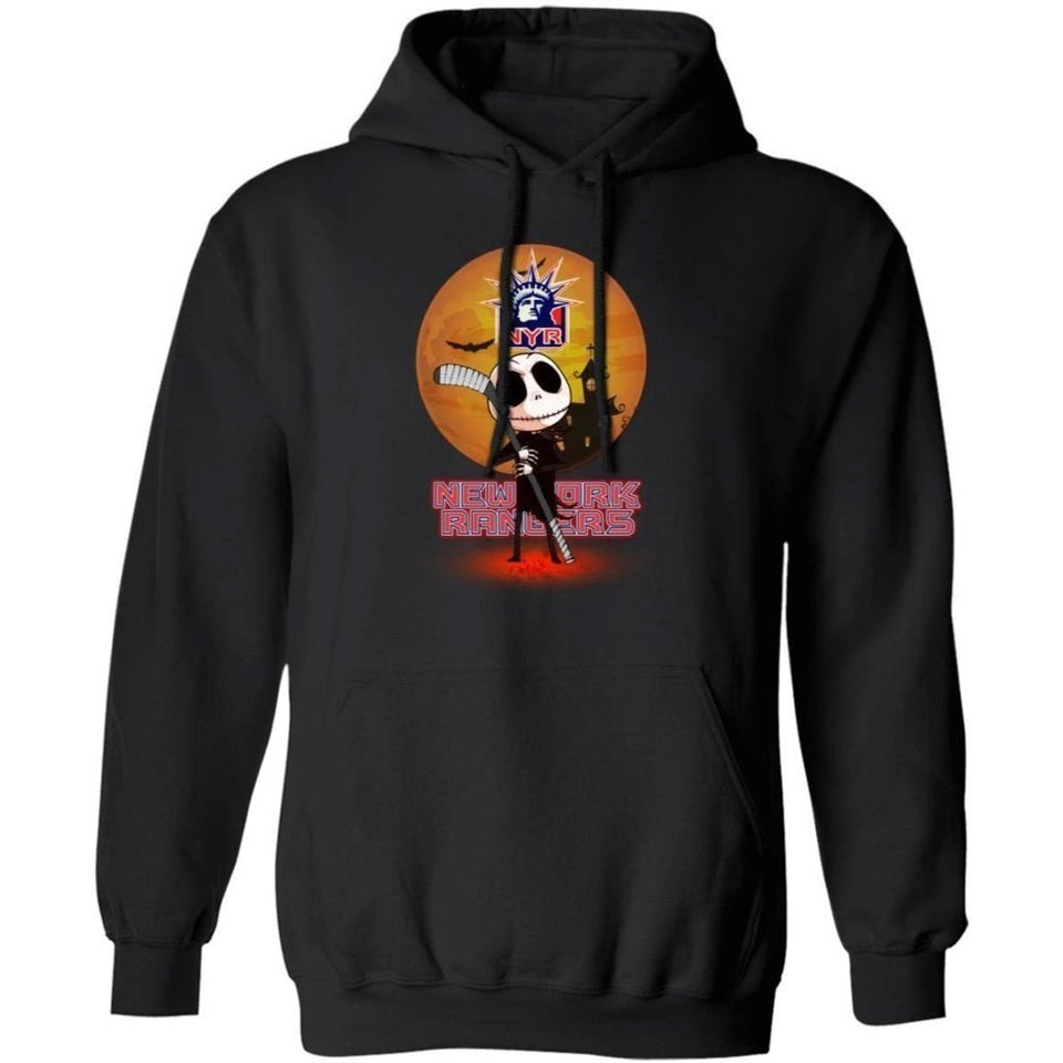 Jack Skellington Holding Hockey Stick New York Rangers Hoodie For Fans HA09-Bounce Tee