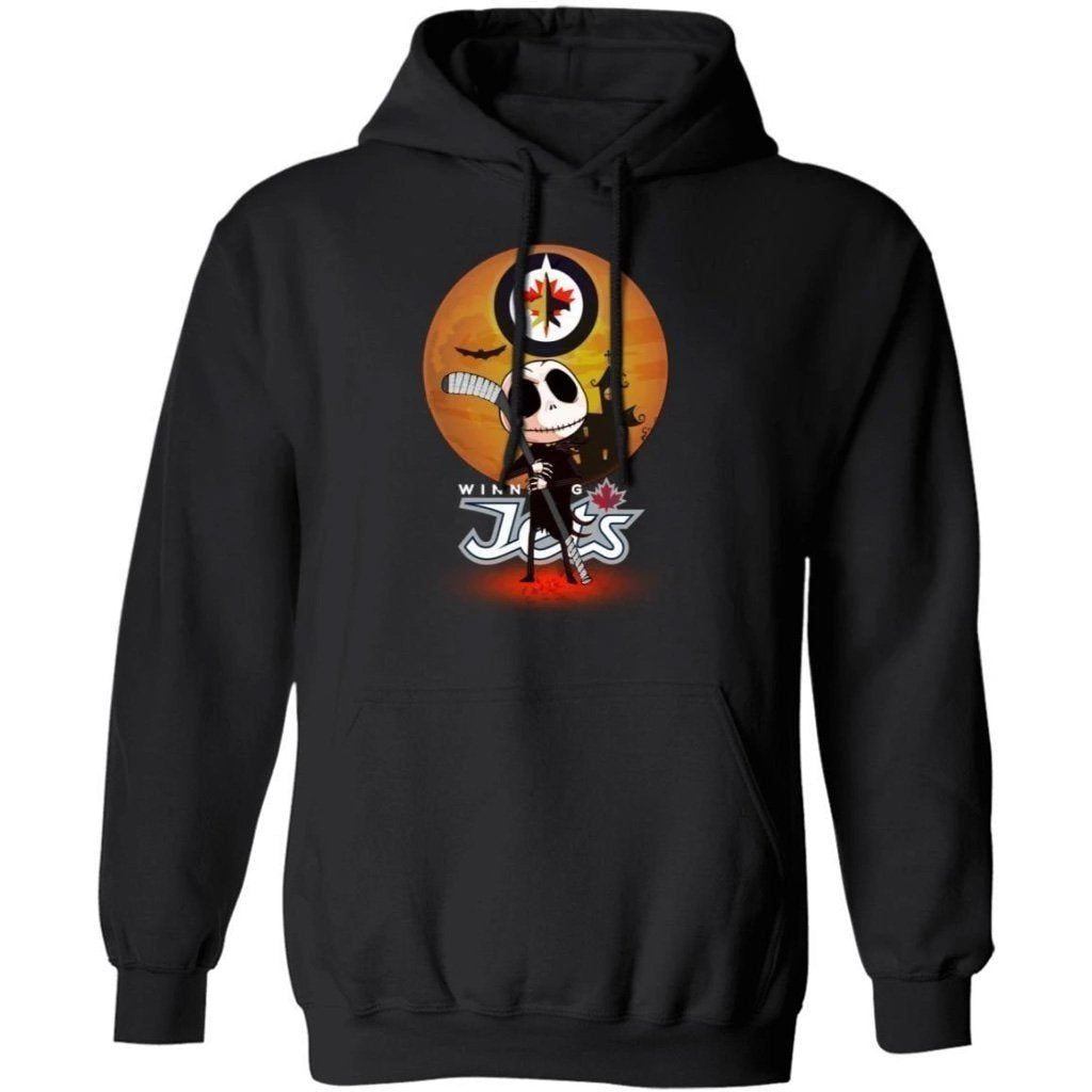 Jack Skellington Holding Hockey Stick Winnipeg Jets Hoodie For Fans HA09-Bounce Tee