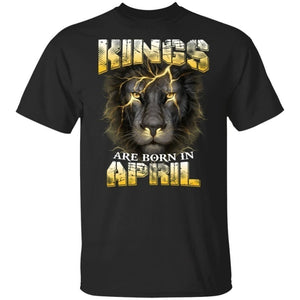 Kings Are Born In April Birthday T-Shirt Amazing Lion Face-Bounce Tee