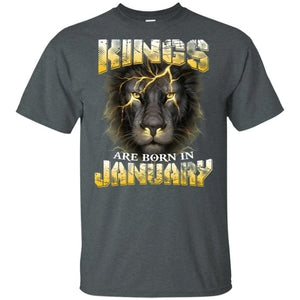 Kings Are Born In January Birthday T-Shirt Amazing Lion Face-Bounce Tee
