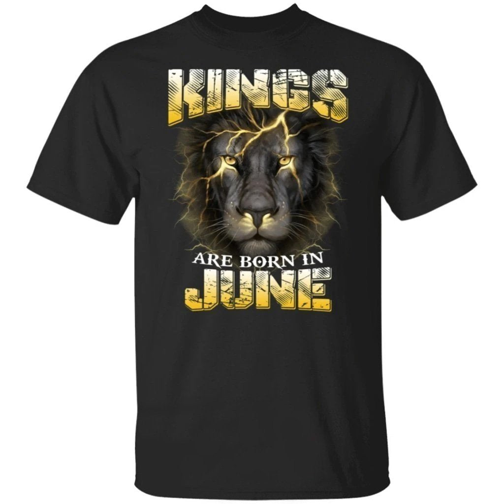 Kings Are Born In June Birthday T-Shirt Amazing Lion Face-Bounce Tee