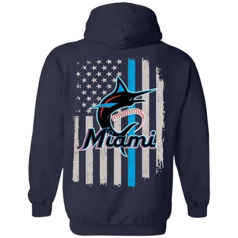 Miami Marlins Team American Flag Hoodie Gift VA07-Bounce Tee