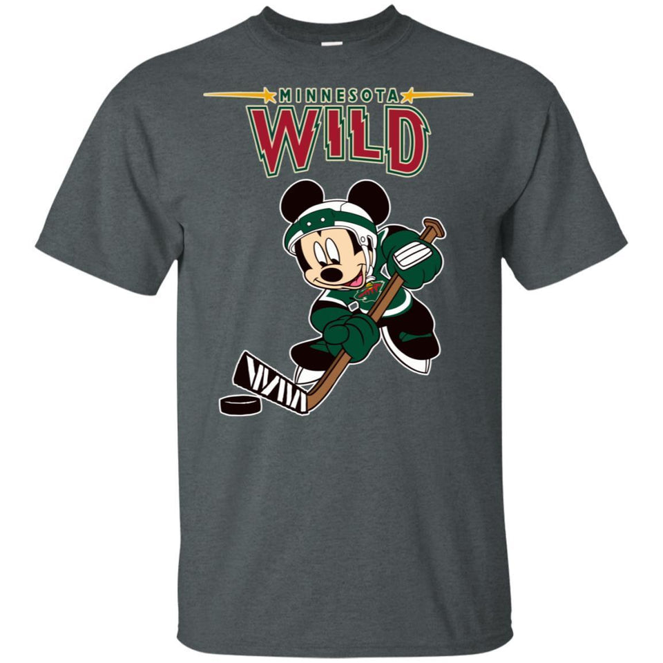 Minnesota Wild Mickey Play Hockey T-shirt Men Women Fan HA05-Thebouncetee.com