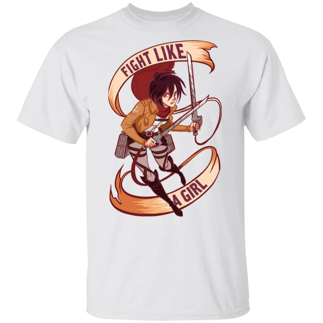 Misaka Fight Like A Girl T Shirt Attack On Titan Anime Tee-Bounce Tee