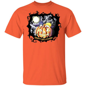 Naruto And Sasuke on Pumpkin Shirt Anime Halloween Tee-Bounce Tee