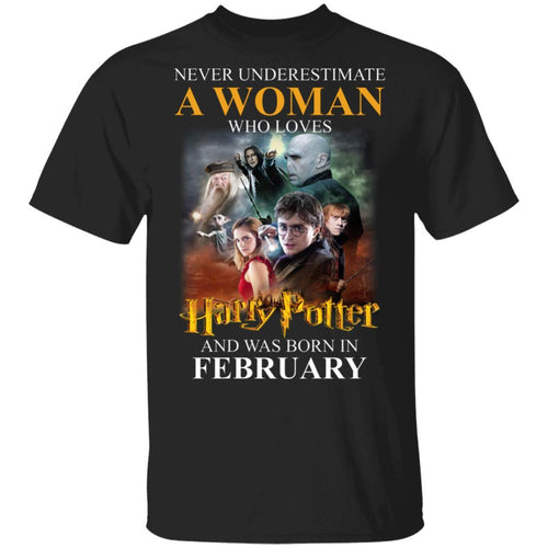 Never Underestimate A February Woman Loves Harry Potter T-shirt MT02-Bounce Tee
