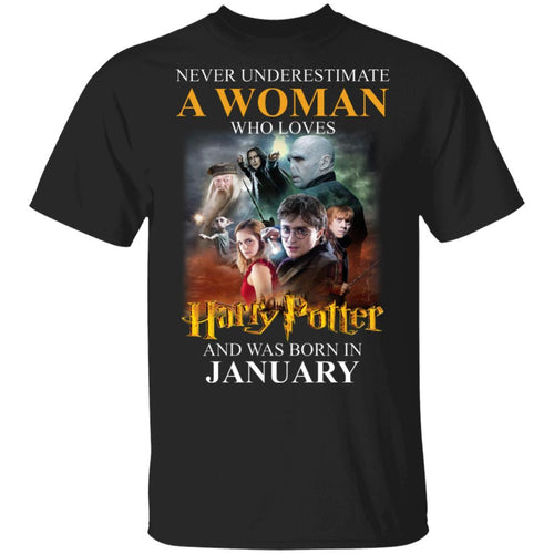 Never Underestimate A January Woman Loves Harry Potter T-shirt MT02-Bounce Tee