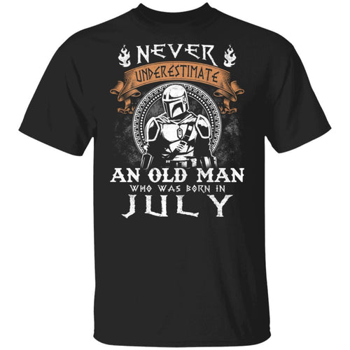 Never Underestimate A July Old Man Mandalorian T-shirt MT05-Bounce Tee