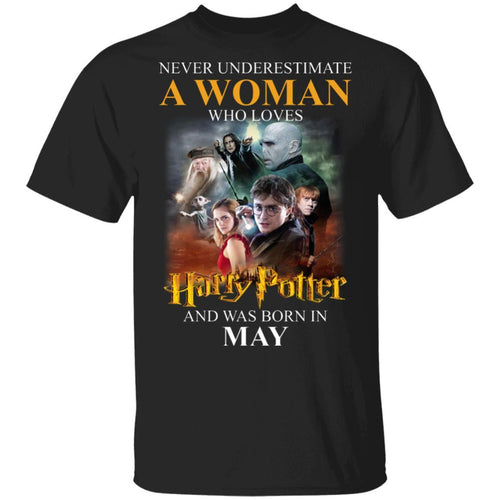Never Underestimate A May Woman Loves Harry Potter T-shirt MT02-Bounce Tee