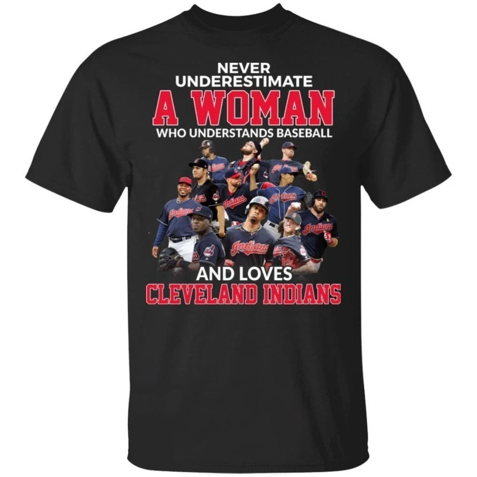 Never Underestimate A Woman Who Loves Indians T-Shirt-Bounce Tee