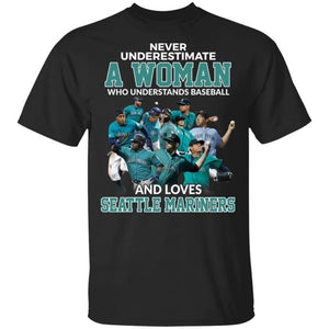 Never Underestimate A Woman Who Loves Mariners T-Shirt-Bounce Tee