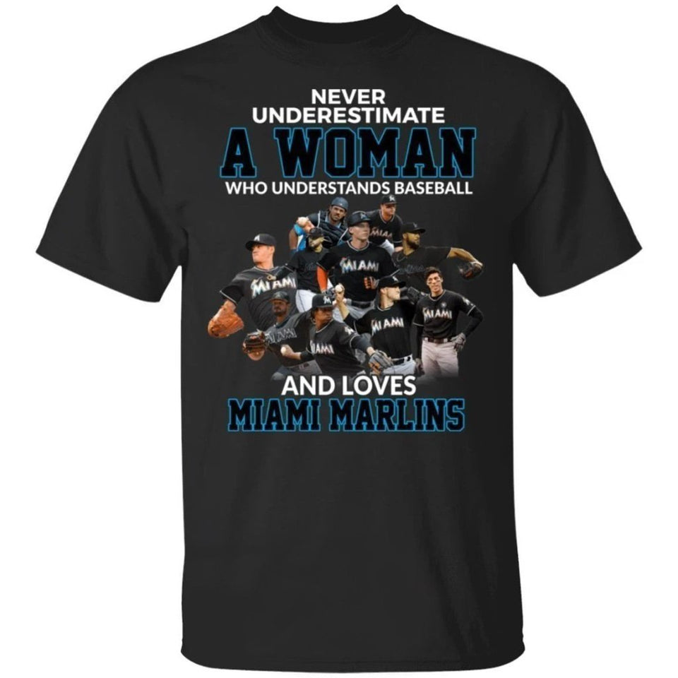 Never Underestimate A Woman Who Loves Marlins T-Shirt-Bounce Tee
