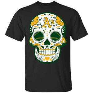 Oakland Athletics Sugar Skull Baseball Team Shirt Fan Gift Idea LT02-Bounce Tee