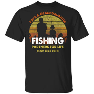 Papa And Granddaughter Fishing Partners For Life Personalized T-shirt MT05-Bounce Tee
