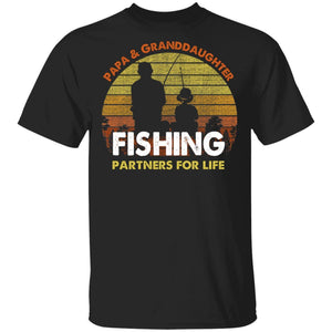 Papa And Granddaughter Fishing Partners For Life T-Shirt Fishing Lover-Bounce Tee