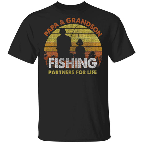Papa And Grandson Fishing Partners For Life T-Shirt Fishing Lover-Bounce Tee