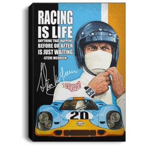 Racing Is Life Steve McQueen Canvas Poster VA04-Bounce Tee