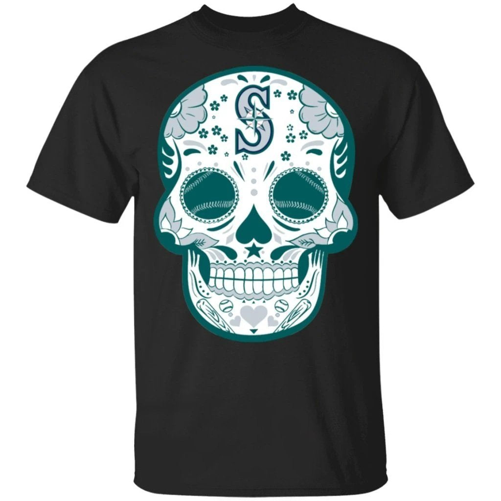 Seattle Mariners Sugar Skull Baseball Team Shirt Fan Gift Idea LT02-Bounce Tee