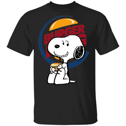 Snoopy Eating Burger King T-shirt Fast Food Tee VA12-Bounce Tee