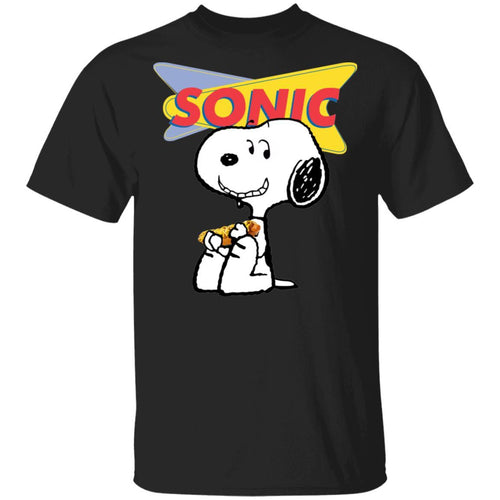 Snoopy Eating Sonic Drive-In T-shirt Fast Food Tee VA12-Bounce Tee
