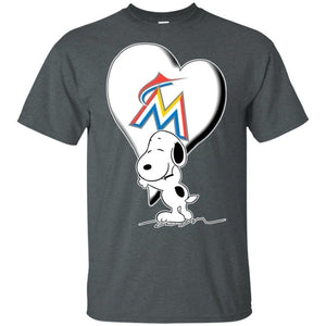Snoopy Love Marlins Team Heart for Fan Shirt KA02-Bounce Tee