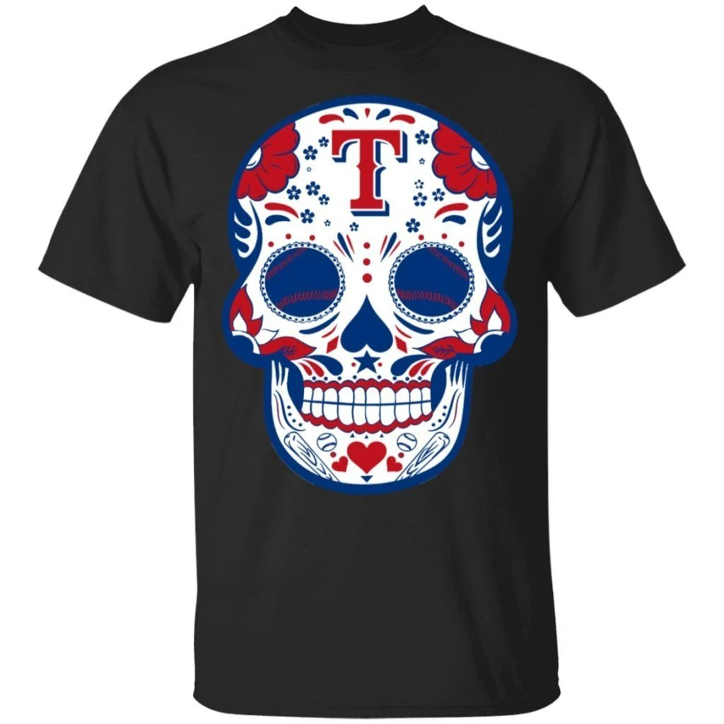 Texas Rangers Sugar Skull Baseball Team Shirt Fan Gift Idea LT02-Bounce Tee