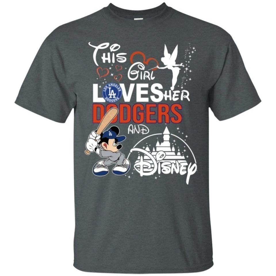 This Girl Love her Dodgers Team and Disney T-Shirt-Bounce Tee