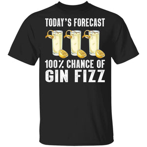 Today's Forecast 100% Gin Fizz T-shirt Cocktail Tee VA03-Bounce Tee