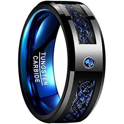NUNCAD Celtic Dragon Blue Tungsten Carbide Wedding Band Ring for Men 18,89mm Blue Carbon Fiber Size R½ to Z+3