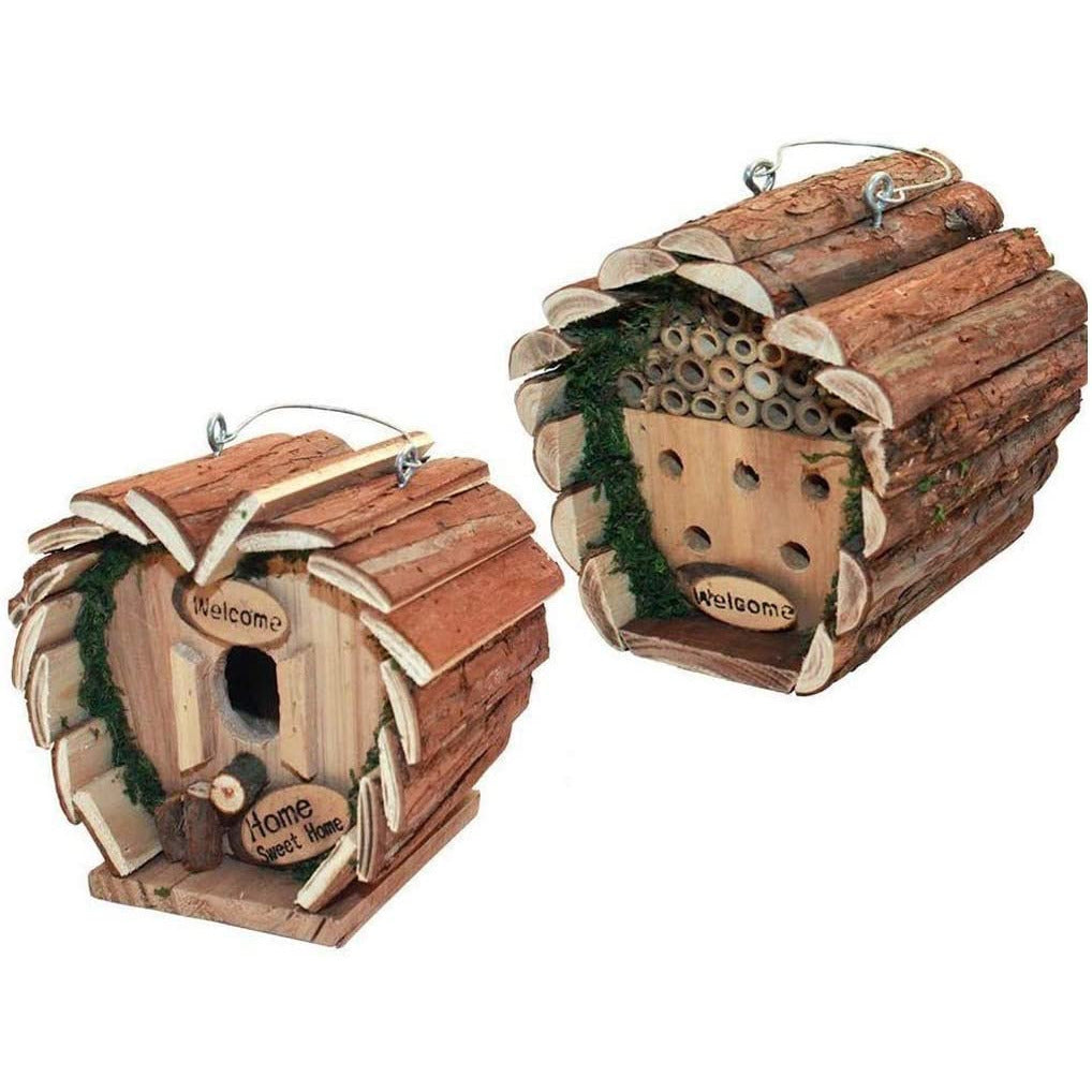 BARGAINS-GALORE HANGING WOODEN NESTING BOX INSECT BEE HOUSE HOTEL GARDEN BIRD OUTDOOR NEW (BIRD)