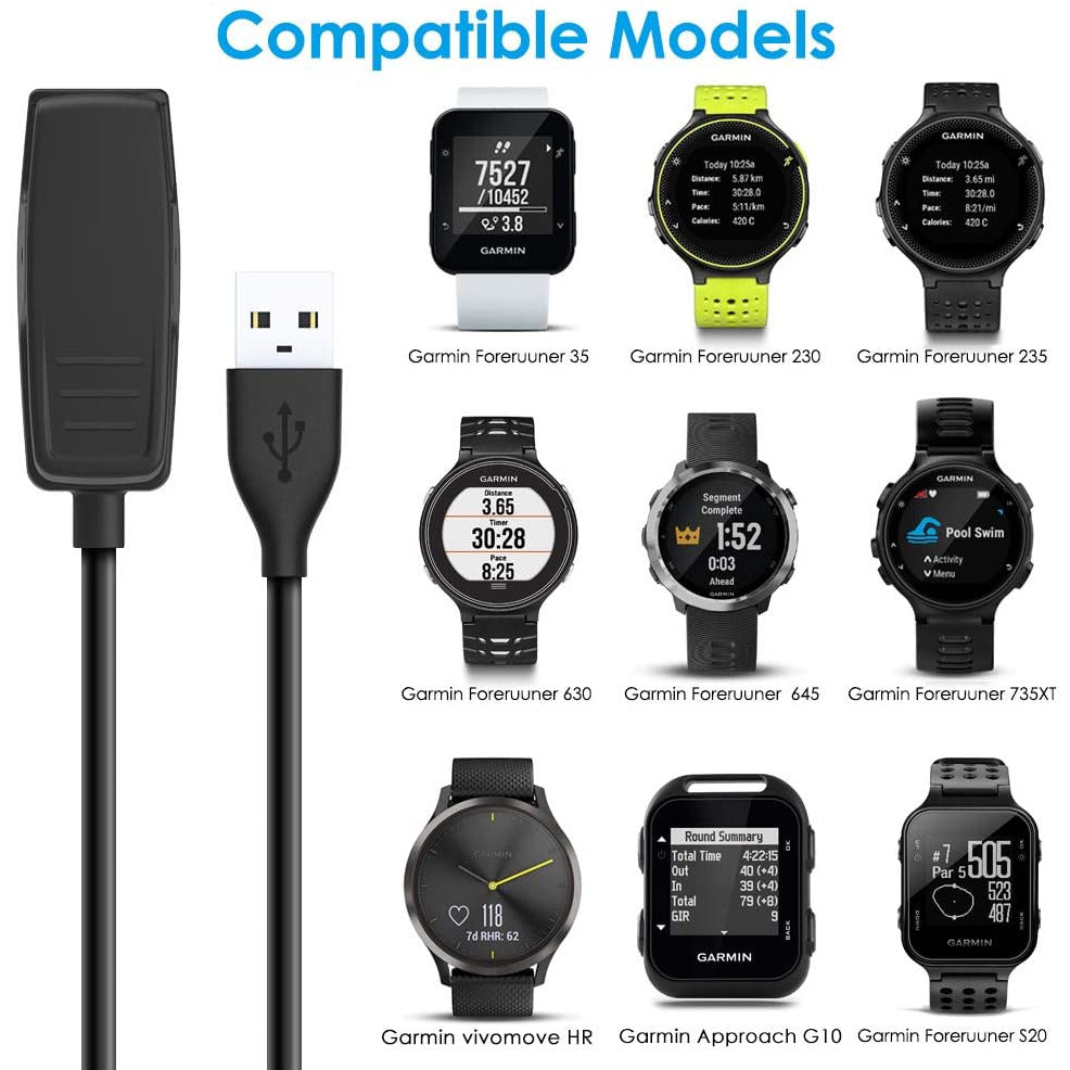 CAVN Charger Cable Compatible with Garmin Forerunner 235 35 230 630 645 Music, 735XT, Approach G10 S20, Vivomove HR, Data Sync Charger Clip Charging Cable Accessorie