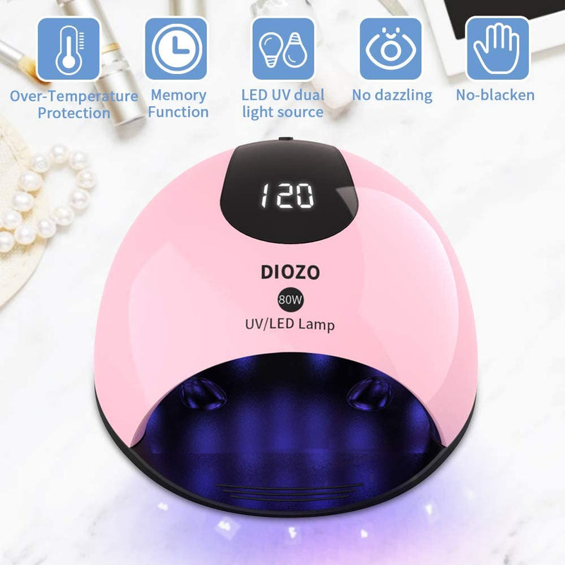 80W UV LED Gel Nail Lamp, DIOZO professional Nail Dryer lamp for Gel Nail Polish with memory function auto-sensor 4 timer for salon and home