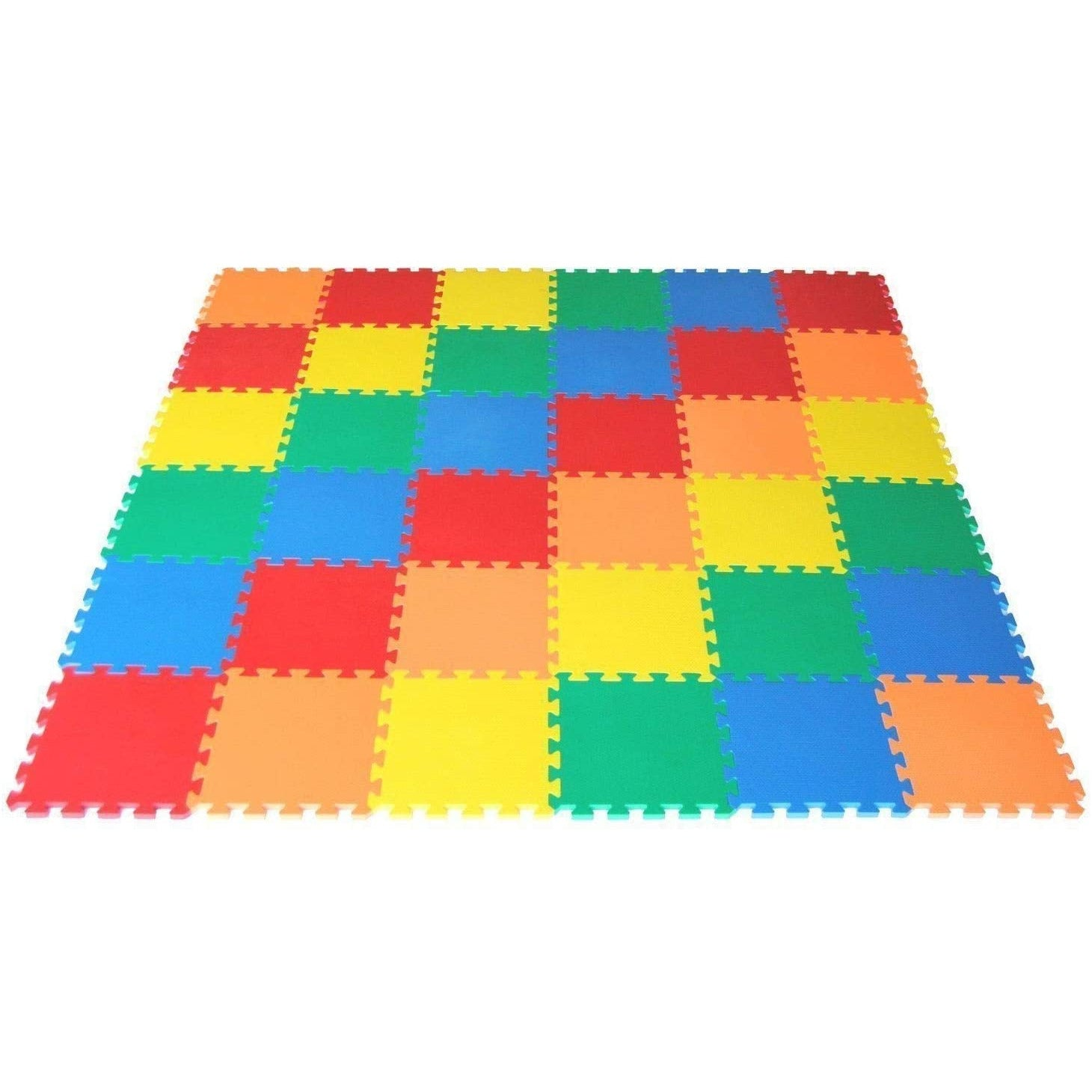 VLFit Multi-Colour Outdoor/Indoor Protective Kids Soft Floor Mats Interlocking - Reversible EVA Floor Matting suitable for Gym, Baby Play Area, Exercise, Yoga etc (10 Mats)