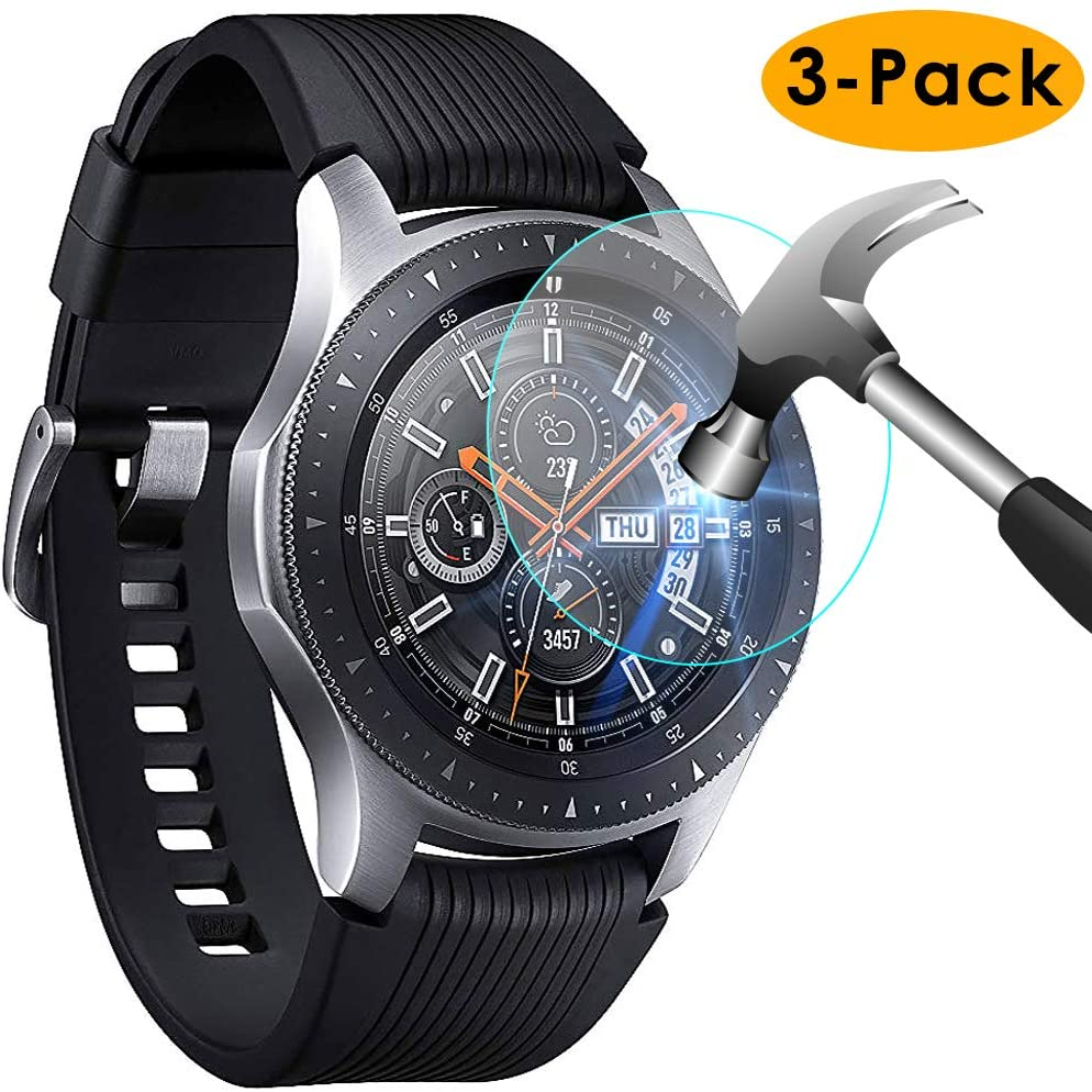 KIMILAR Screen Protector Compatible with Samsung Galaxy Watch 46mm / Gear S3, [3 Pack] Tempered Glass Screen Protector Film Protective Cover for Samsung Galaxy Watch 46mm & Gear S3 Frontier/Classic